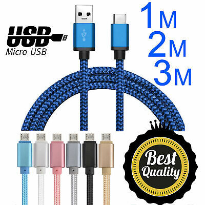 Strong Nylon Braided Micro USB Data Sync Charger Charging Cable Samsung Models