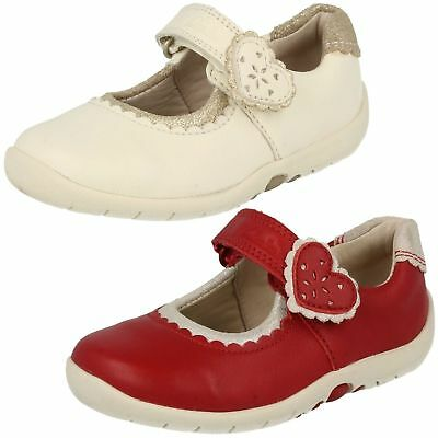 1e636e84a Girls Clarks Cotton Leather Mary Jane Style Riptape First Shoes Softly Heart