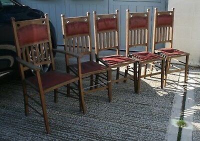 Set of five antique oak arts & crafts dining chairs