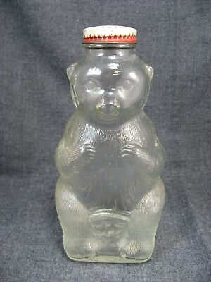 Snow Crest Beverages Salem Mass. Glass Bear Figure Bottle Bank 7 inch