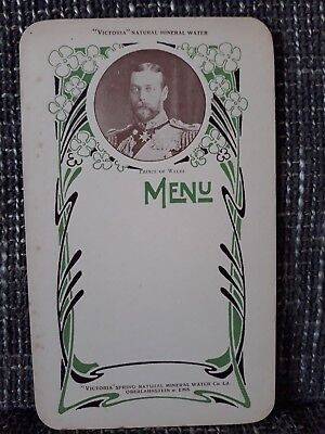 MENU - Victoria Natural Mineral Water - Années 1900 - Prince of Wales
