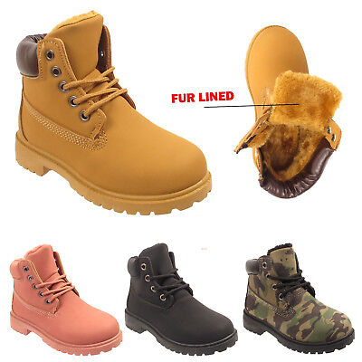 Children Ankle Boots Girls Boys Fur Lined Kids Army Combat Winter Snow Shoes