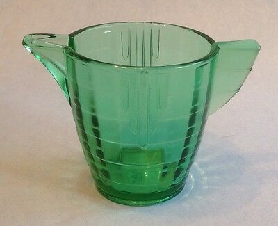 """Vintage Green Glass AKRO AGATE Stacked Band Child's Dishes Teapot 2-3/8"""" No Lid"""