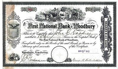 The First National Bank of Woodbury, New Jersey, 1912  (10 Shares)