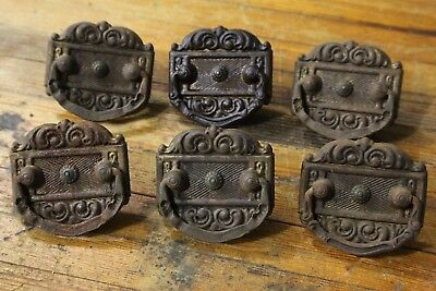 SET OF 6 Metal ORNATE DRESSER CABINET CUPBOARD DRAWER PULLS ANTIQUE VINTAGE OLD