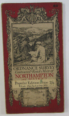 Old Antique 1919 OS Ordnance Survey One-Inch Popular Edition Map 83 Northampton