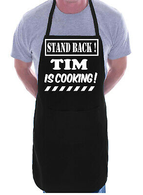 Stand Back Tim Is Cooking BBQ Adult Personalised Apron Gift Your Pub Club Name