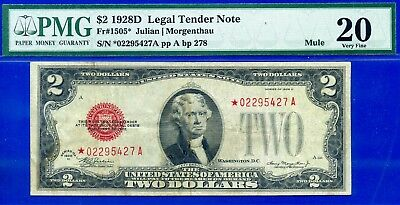 *Rare FR-1505* 1928-D $2 US Note (( MULE )) PMG Very-Fine 20 # *02295427A