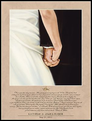 """Personalized Laser Engraved """"I DO"""" Lithograph Plaque , Wedding/Anniversary"""