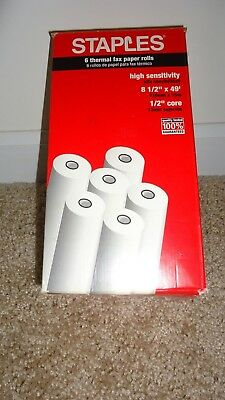 """Staples Thermal Fax Paper Rolls 8 1/2"""" X 49' with 1/2"""" Core Staples 4 rolls"""