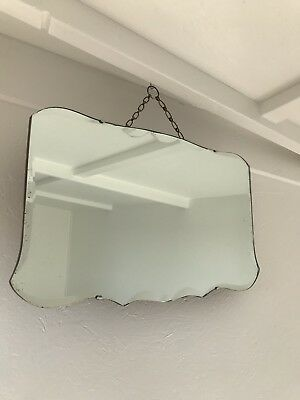 Vintage Mirror Art Deco Beveled Edged Frameless Wall With Hanging Chain