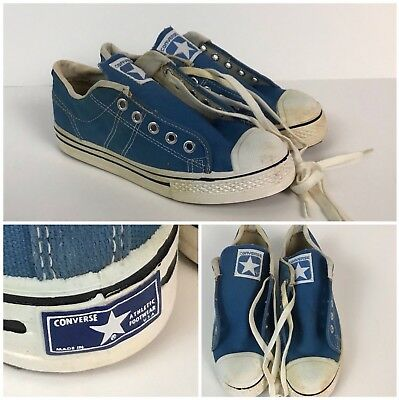 Vtg NOS 70s Converse Blue Label Straight Shooters Blue Basketball Shoes Boys 3