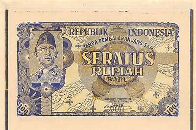 Indonesia 100 Rupiah ND. 17.8.1949 P 35G Proof Scarce Uncirculated Banknote