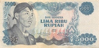 Indonesia 5000 Rupiah 1968 P 111a Series DA Circulated Banknote
