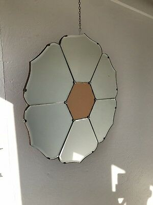 Art Deco Mirror Peach Mirror With Chain Lovely Panel Mirror Flower Mirror