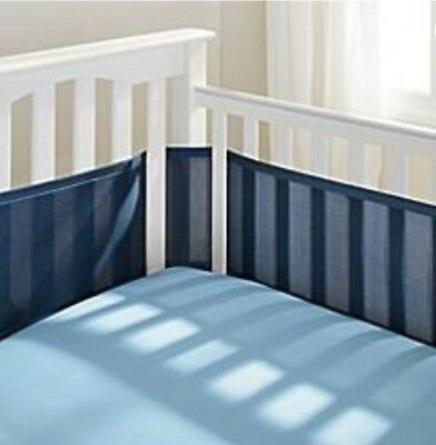 Breathable Baby Mesh Crib Liner Bumper Navy Blue