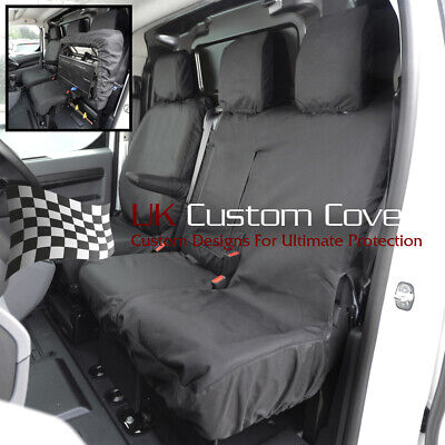 Vauxhall Vivaro 2019 Front Tailored Grey Camo Seat Covers WITH Fold Down Tray