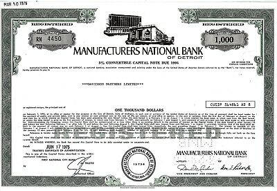 Manufacturers National Bank of Detroit, 1975, 5% Capital Note due 1994 (1.000 $)
