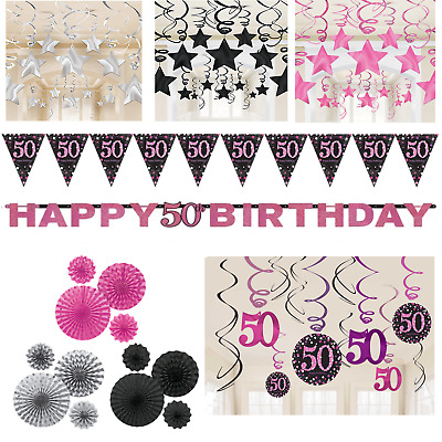 50th Birthday Decorations Black Pink Silver Banner Fans Bunting Swirls Stars