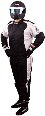 Scca Fire Suit 1 Piece Elite Sfi 3.2A/1 Black  / White 3X Rjs Racing Xxxl