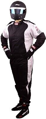 Scca Fire Suit 1 Piece Elite Sfi 3.2A/1 Black  / White Xl Rjs Racing