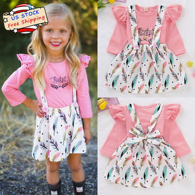 Toddle Baby Girl Letter Ruffle Tops+Feather Straps Skirt Thanksgiving Outfit Set