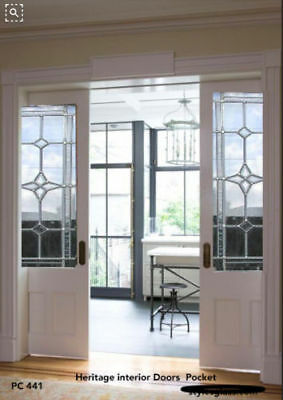 "2 - 26"" x 80"" Interior Pocket Doors with full light Glass panels PC411 design"