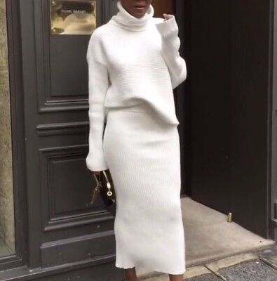 2e13db0e Zara Sweater & Skirt Ribbed!! Sold Out , Bloggers Favorite Outfit White On  White