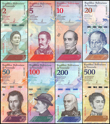 Venezuela 2 - 500 Bolivar Soberano 8 Pieces - PCS Full Set, 2018, P-88-100,UNC