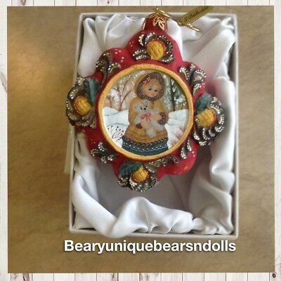 G.Debrekht GIrl With Teddy  Ornament * Beautiful!! New in Box