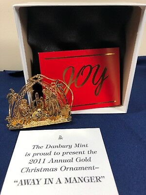 """Danbury Mint Gold Christmas Ornament """"Away In A Manger""""  2011 Annual S"""