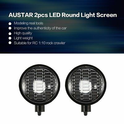 AUSTAR 2pcs LED Round Light Screen for 1/10 RC Climbing Car Model Axial SCX10 SY