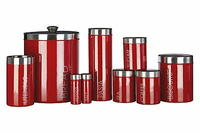 Liberty Series Red Stainless Steel Kitchen Storage Jars Canisters w/ Silver Lids