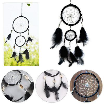 Black Handmade Dream Catcher with Feather Lace Hanging Decoration Ornament Craft