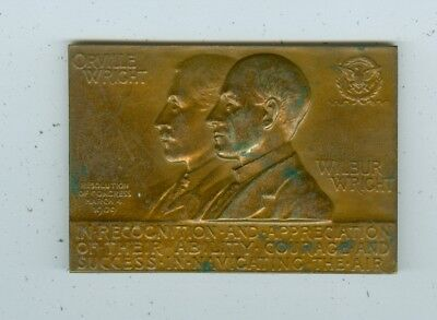 "Wilbur And Orville Wright Wright Brothers 3 X 2 1/2"" Bronze Medal U.s. Mint #639"