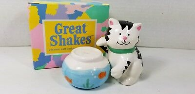 Vintage 1994 Russ Great Shakes Cat & Fishbowl Salt & Pepper, Mint in Orig. Box