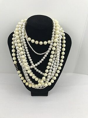 Vintage To Now Estate Jewelry Lot Of 3 Necklaces White Pearl Design Beads