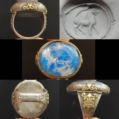 Antique Wonderful Silver Ring With Wild lion Stone Intaglio   # 4z