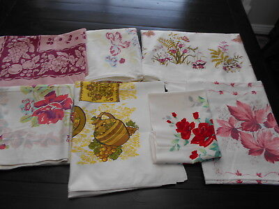 Printed Tablecloths Cutter Craft Repair Use Lot 7 Vtg 50's 60's