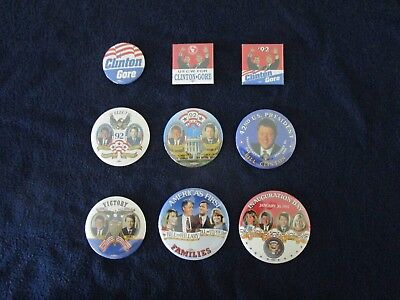 1992 CLINTON GORE Presidential Campaign Inauguration Lot of 9 Buttons Pins