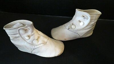 Antique White Leather Babies High Top Button Shoes Children's Glass Buttons