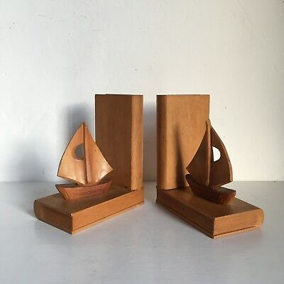 Vintage Mid Century Wooden Carved Yacht Boat Bookends Nautical Theme
