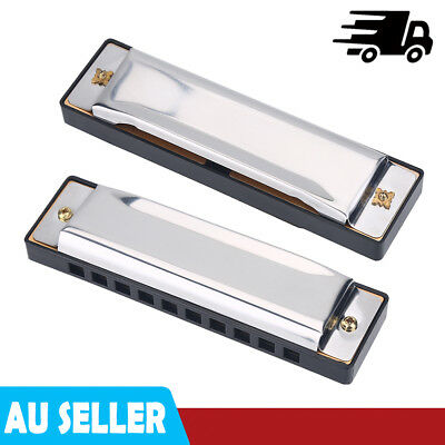 Harmonica 10 Holes Mouth Organ Key of C SILVER Blues Harp Stainless Steel Hot AU