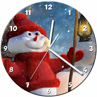 Snowman Christmas Glass Wall Clock Learn Gift Bedroom Gaming Kids - 11