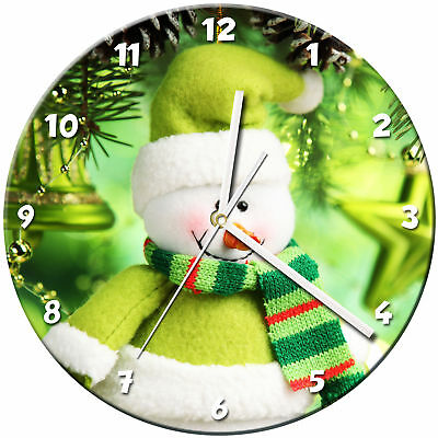 Snowman Christmas Glass Wall Clock Learn Gift Bedroom Gaming Kids - 01