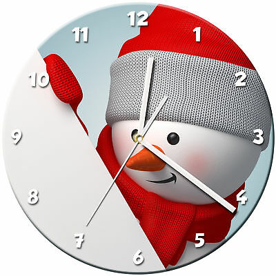 Snowman Christmas Glass Wall Clock Learn Gift Bedroom Gaming Kids - 03