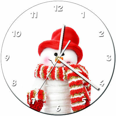 Snowman Christmas Glass Wall Clock Learn Gift Bedroom Gaming Kids - 05