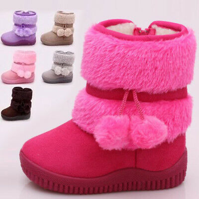 Toddler Girls Kids Thick Winter Ankle Boots Fur Lined Warm Sweet Snow Shoes Sbox