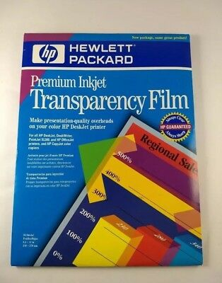 1 Box HP Premium Inkjet Transparency Film C3834A 8.5 x 11 - 41 sheets Opened