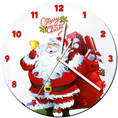 Christmas Xmas Glass Wall Clock Learn Gift Bedroom Gaming Kids - 02